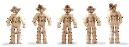 De cowboy boxmen karakters op wit Stock Afbeelding