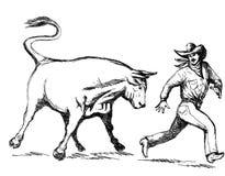 De cowboy die van de rodeo wegloopt royalty-vrije illustratie