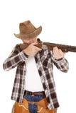 De cowboy doet barsten open het oog van het kanondoel Stock Afbeeldingen