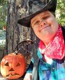 De Cowboy en de hefboom-o-Lantaarn van Halloween Royalty-vrije Stock Afbeelding