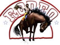 De cowboy en de tekst van de rodeo royalty-vrije illustratie