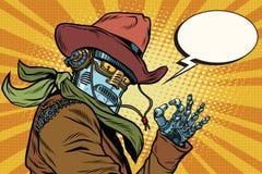 De cowboy o.k. gebaar van de Steampunkrobot royalty-vrije illustratie