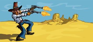 De cowboy van het beeldverhaal in de woestijn die zijn kanonnen in brand steekt Stock Afbeelding