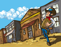 De cowboy van het beeldverhaal in een westelijke oude het westenstad Stock Foto's