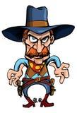 De cowboy van het beeldverhaal klaar om zijn kanonnen te trekken Stock Afbeeldingen