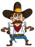 De cowboy van het beeldverhaal klaar te trekken. Stock Afbeelding