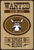 De Cowboy Wanted Poster van de beeldverhaalezel stock illustratie