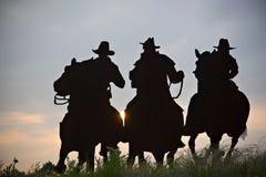 De cowboys silhouetteren Stock Foto