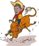 De cowboystier van de Rodeo van Obama het berijden royalty-vrije illustratie