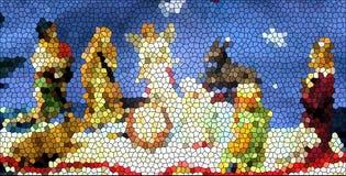 De Crèche van het gebrandschilderd glas royalty-vrije stock afbeeldingen