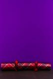 De cracker van geruit Schots wollen stofkerstmis met lege hierboven ruimte Stock Fotografie