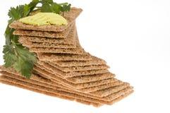 De crackers van het dieet met peterselie en boter. Royalty-vrije Stock Foto's