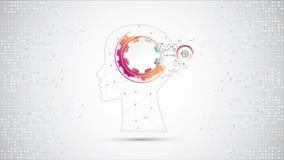 De creatieve achtergrond van het hersenenconcept Kunstmatige intelligentieconce stock videobeelden