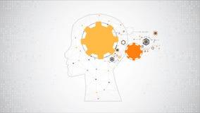 De creatieve achtergrond van het hersenenconcept Kunstmatige intelligentieconce stock footage
