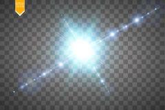 De creatieve die het lichteffectsterren van de conceptengloed barst met fonkelingen op transparante achtergrond worden geïsoleerd Royalty-vrije Stock Foto