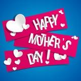 De creatieve Gelukkige Kaart van de Moedersdag met Harten op Rib Stock Foto's