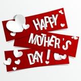 De creatieve Gelukkige Kaart van de Moedersdag met Harten op Rib Stock Foto