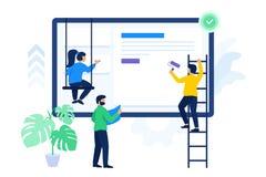 De creatieve mensen werken aan project samen stock illustratie