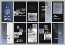 De creatieve sociale netwerkenverhalen ontwerpen, verticale banner of vliegermalplaatjes met kleurrijke gradiëntachtergronden dek royalty-vrije illustratie