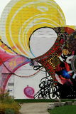 De creatieve straatkunst schilderde bij de oude bouw, Boston, Massa, Oktober, 2014 Royalty-vrije Stock Afbeeldingen