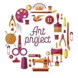 De creatieve vectoraffiche van het kunstproject voor DIY-ambacht en de met de hand gemaakte klassen van de ambachtworkshop stock illustratie