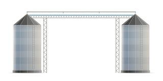 De creatieve vectorillustratie van landbouwsilopakhuis voor de lift van de korrelopslag isoleerde op transparant vector illustratie