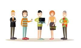 De creatieve vectorillustratie van teammensen in vlakke stijl stock illustratie