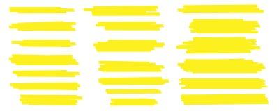 De creatieve vectorillustratie van vlekslagen, hand getrokken gele de tellerslijnen van hoogtepuntjapan, borstelt geïsoleerde str royalty-vrije illustratie