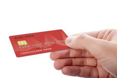 De creditcard van de handholding op witte achtergrond wordt ge?soleerd die stock fotografie