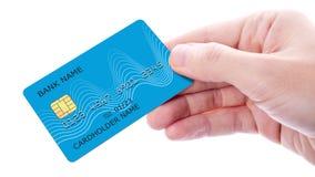 De creditcard van de handholding op witte achtergrond wordt ge?soleerd die stock foto's