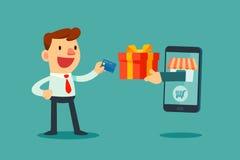 De creditcard van het zakenmangebruik aan online het shoping Stock Foto's