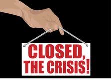 De crisis van de inschrijving Closed.the! Stock Fotografie