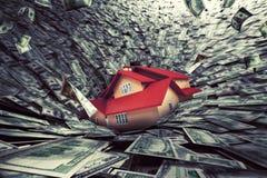 De crisis van de onroerende goederenmarkt met een huis in schuld wordt gezogen die het 3d teruggeven Royalty-vrije Stock Fotografie