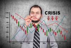 De crisisgrafiek van de zakenmantekening Stock Foto