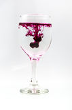 De cristal por completo del agua con color de la tinta Fotos de archivo