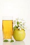 De cristal por completo del jugo fresco con la manzana verde madura Fotografía de archivo