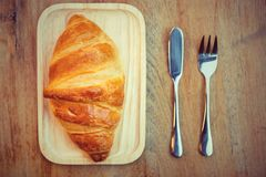 Is de croissant Franse toost een populaire plaats om Europeanen te eten Stock Fotografie