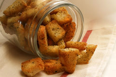 De Croutons van het knoflook Stock Fotografie