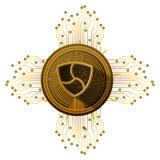 De Cryptocurrency pièce de monnaie pas mentionné ailleurs avec des lignes de circuit illustration libre de droits