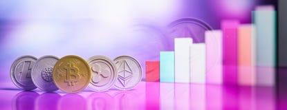 De Cryptocurrencygroei Virtuele munt op grafiekenachtergrond, banner, exemplaarruimte 3D Illustratie stock illustratie