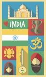 De Culturele Symbolen van India op een Affiche en een Prentbriefkaar Stock Illustratie