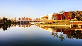 De cultuur nieuw Groot theater oriëntatiepunt-Shanxi van Tai-Yuan en het Nieuwe museum van Tai-Yuan royalty-vrije stock foto's
