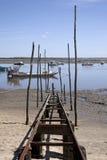 De cultuur van de oester in de Baai van Arcachon Stock Foto