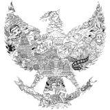 De cultuur van Indonesië in de zwart-witte illustratie van het garudasilhouet stock afbeelding