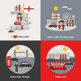 De Cultuurreis 4 van Engeland Vlakke Pictogrammen stock illustratie