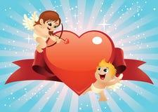 De Cupido's van de valentijnskaart Stock Foto