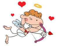De Cupido van de stok met Boog en Pijl die met Hart vliegt Stock Afbeelding