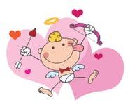 De Cupido van de stok met Boog en Pijl die met Harten vliegt Royalty-vrije Stock Foto