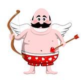 De Cupido van het beeldverhaal met Boog en Pijl Stock Fotografie
