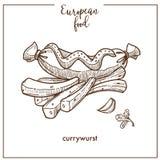 De de Currywurstworst en gebraden gerechten schetsen pictogram voor het Europese Duitse ontwerp van het het snelle voedselmenu va vector illustratie